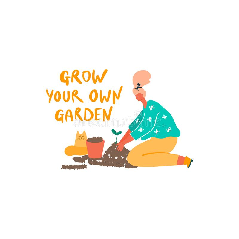 Vrouw met jonge plant, pot en kat Freehand getekende prijsopgave: kweken van je eigen tuin stock illustratie