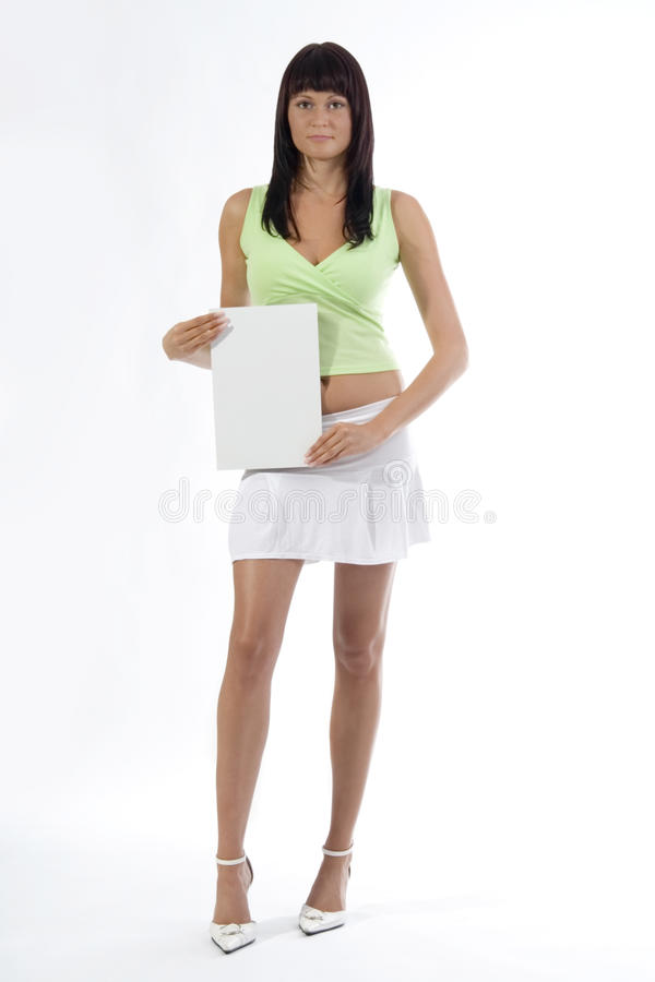 Vrouw met kaart. stock afbeelding