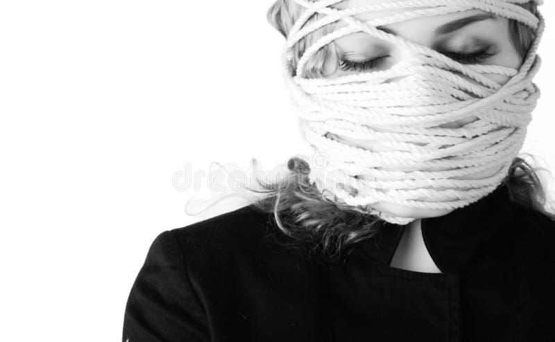 Vrouw met kabel stock afbeelding