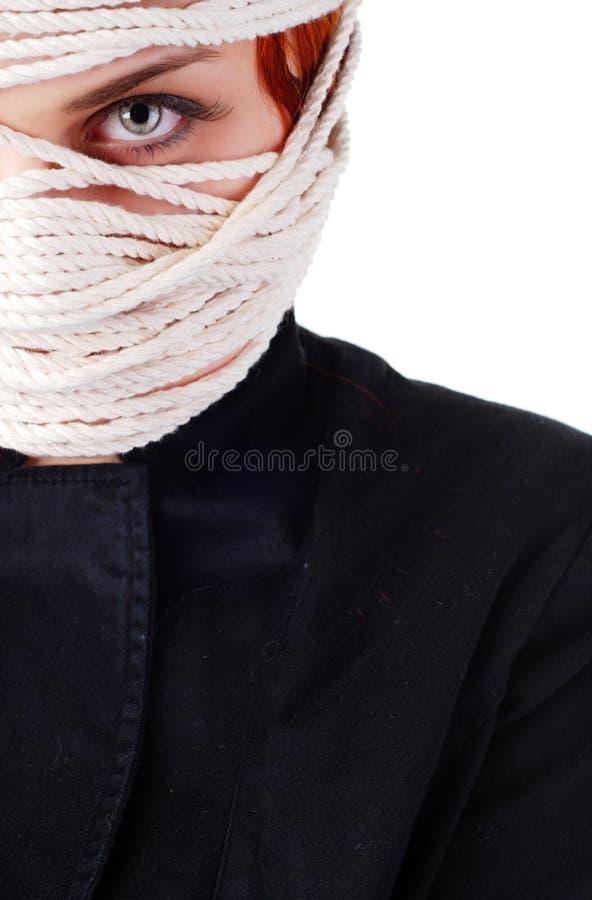 Vrouw met kabel stock fotografie