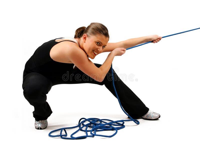 Vrouw met kabel royalty-vrije stock afbeeldingen