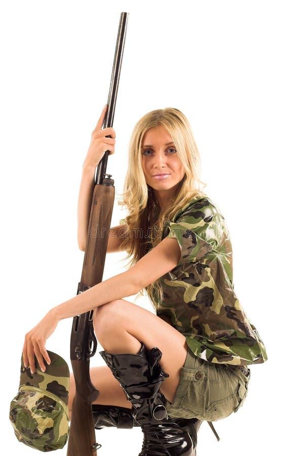 Vrouw met kanon royalty-vrije stock fotografie