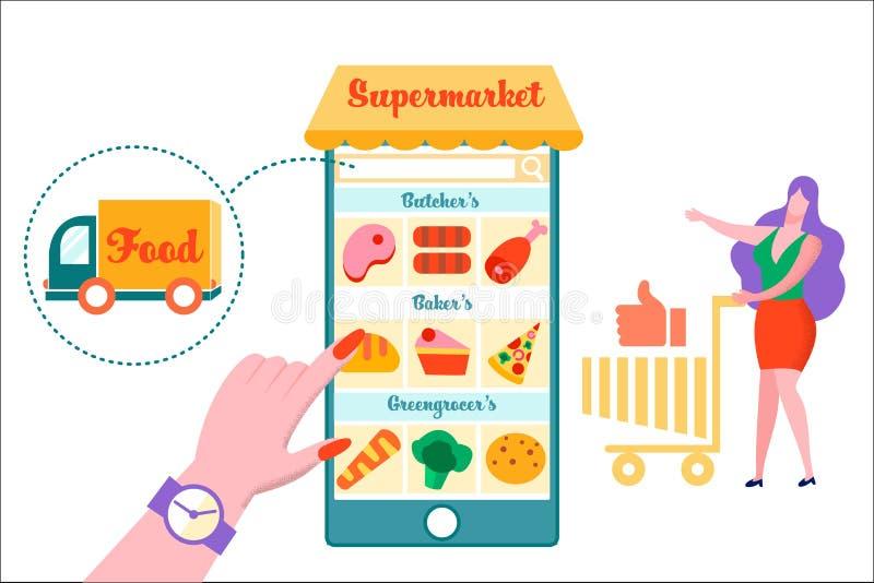 Vrouw met Karretje bij Reusachtige Smartphone-Supermarkt royalty-vrije illustratie