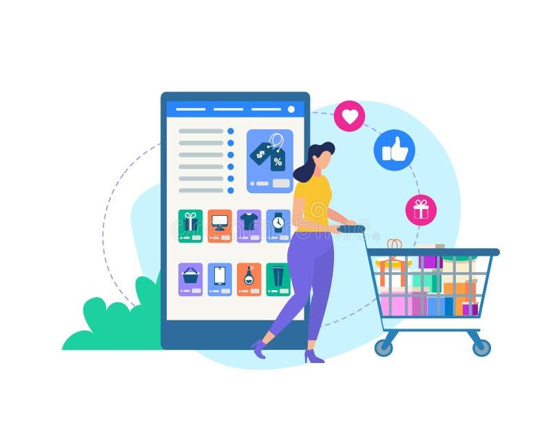 Vrouw met Karretje en Online Winkeltoepassing vector illustratie