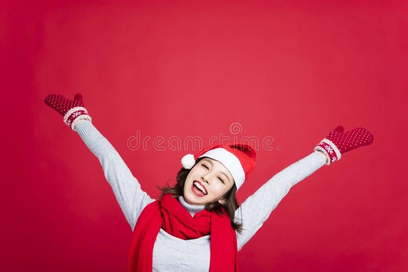 Vrouw met Kerstmis en Nieuwjaar het vieren concept royalty-vrije stock foto's