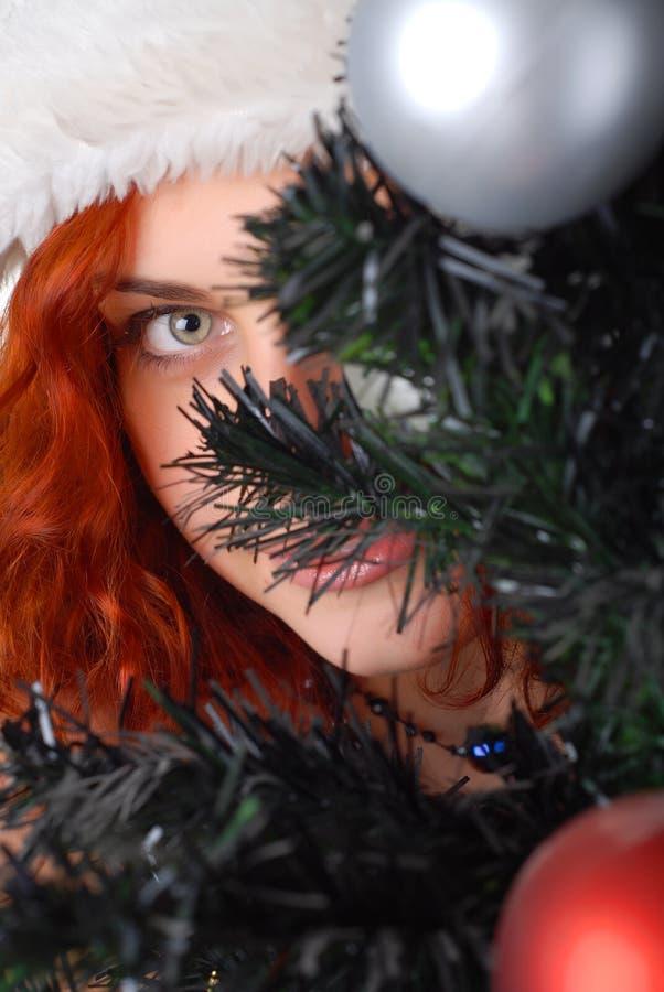 Vrouw met Kerstmisboom stock afbeeldingen