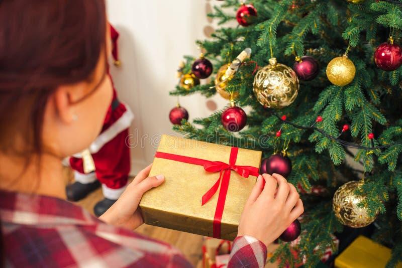 Vrouw met Kerstmisgift royalty-vrije stock afbeelding