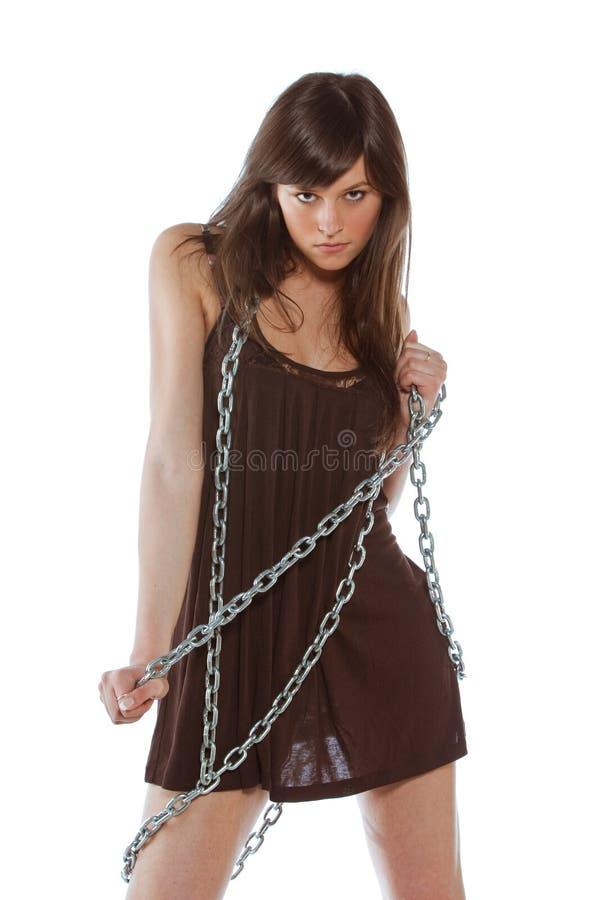 Vrouw met ketting stock foto