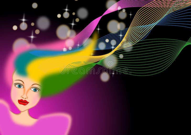 Vrouw met kleurrijk geverft haar vector illustratie