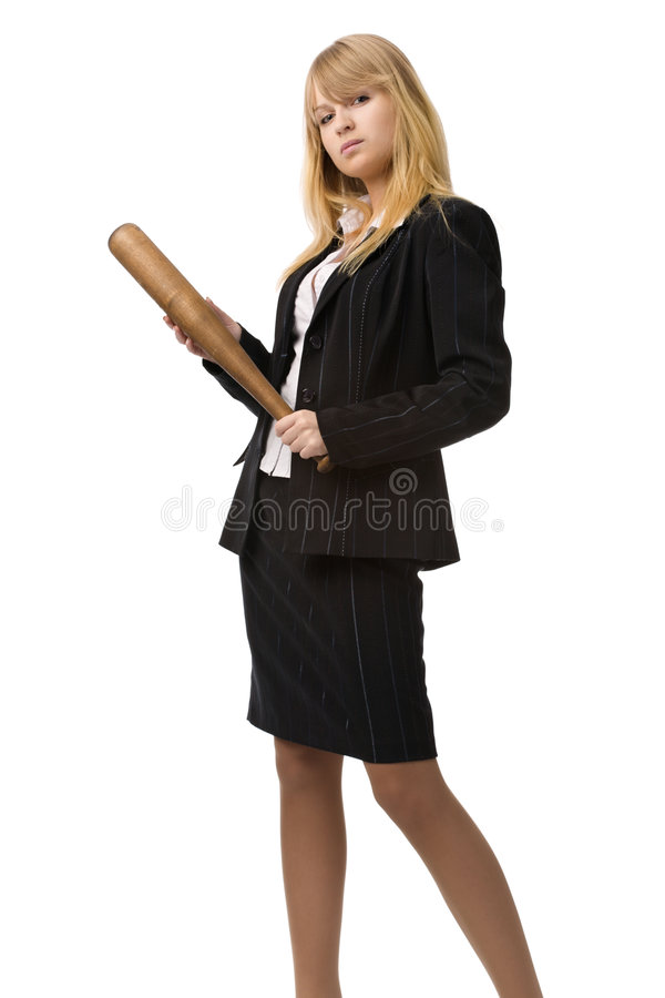 Vrouw met knuppel stock afbeelding
