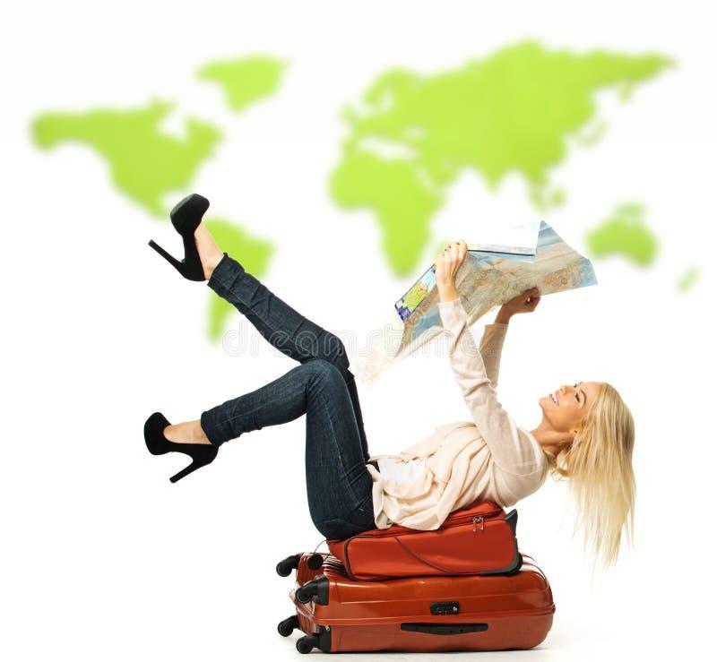 Vrouw met koffer royalty-vrije stock foto