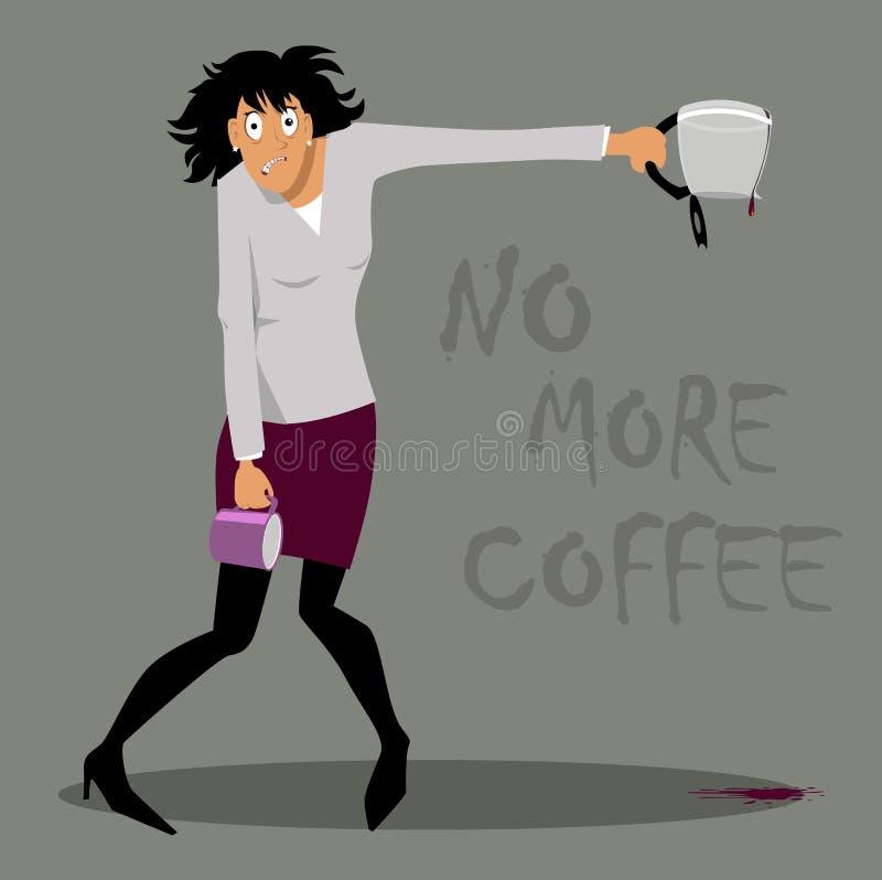 Vrouw met koffieoverdosis stock illustratie
