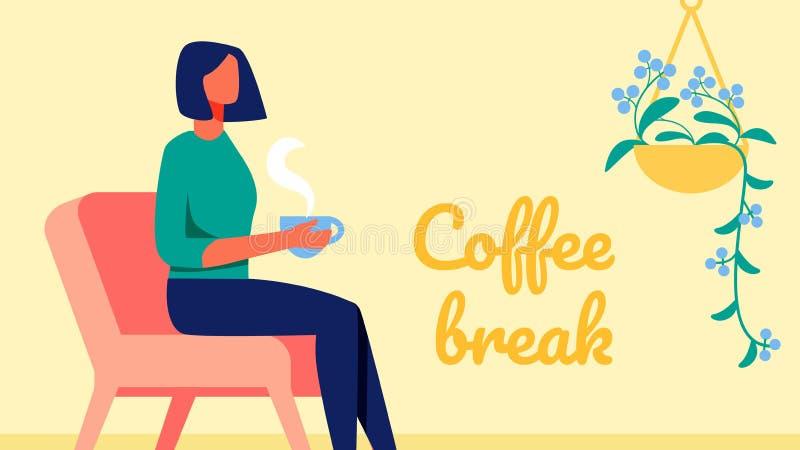 Vrouw met kort zwart haar Zoete croissant en een kop van koffie op de achtergrond Vector royalty-vrije illustratie