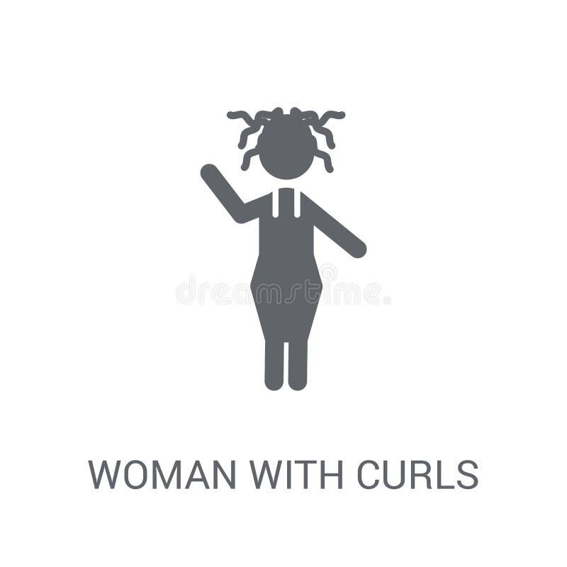 Vrouw met Krullenpictogram In Vrouw met het concept van het Krullenembleem op w vector illustratie