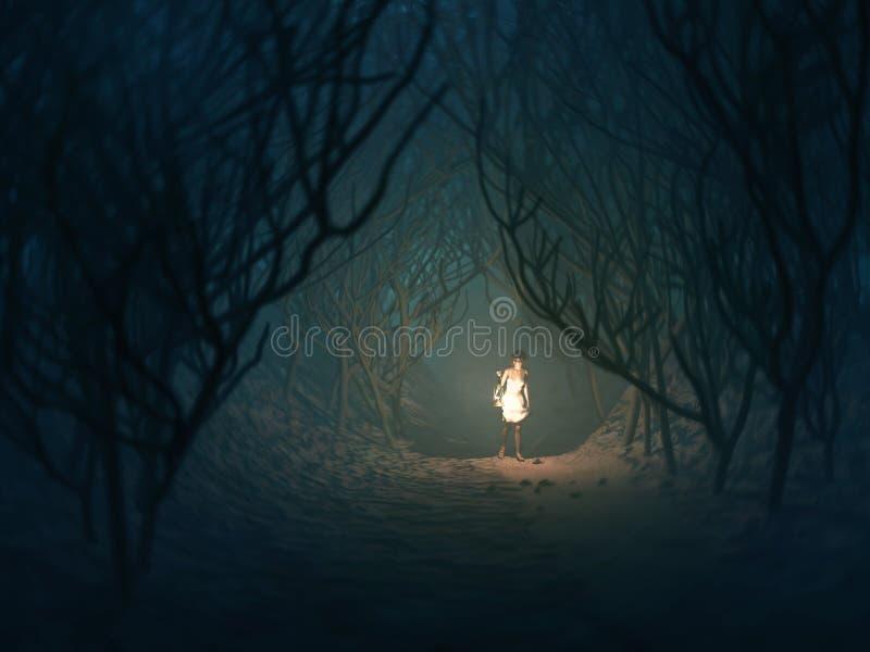 Vrouw met lamp in donker bos stock illustratie