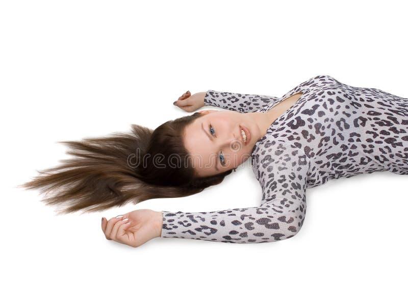 Vrouw met lang bruin haar royalty-vrije stock foto