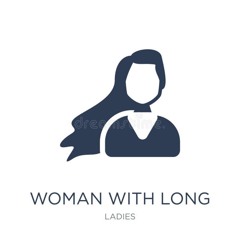 Vrouw met lang haarpictogram  stock illustratie