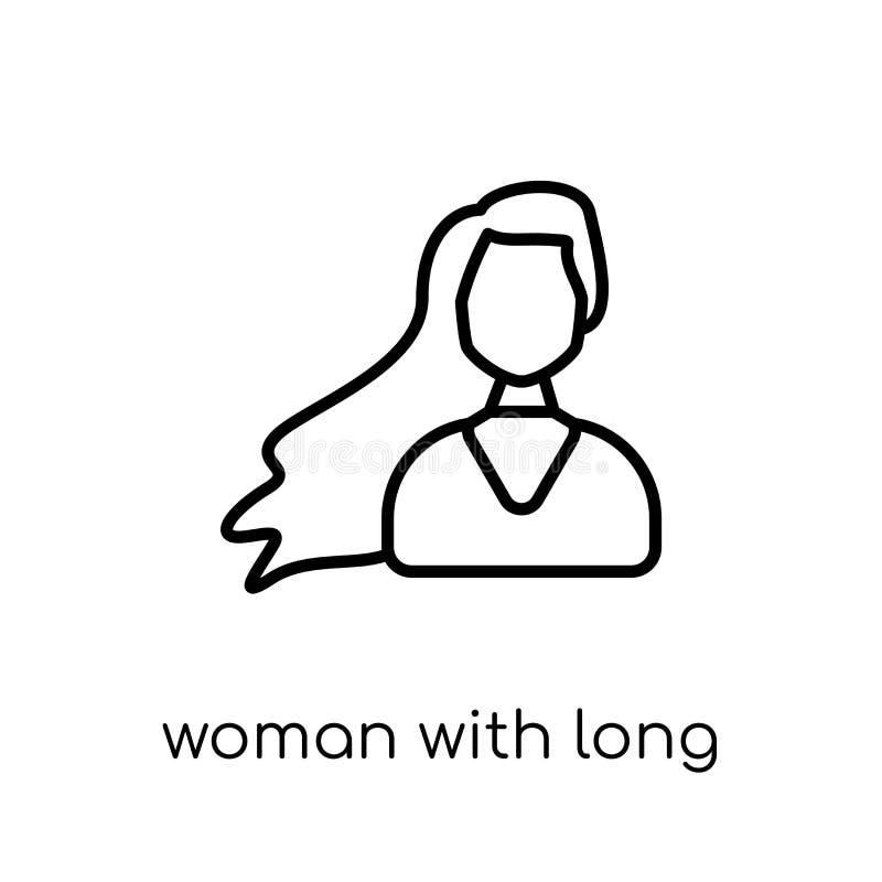 Vrouw met lang haarpictogram In moderne vlakke lineaire vectorwoma royalty-vrije illustratie