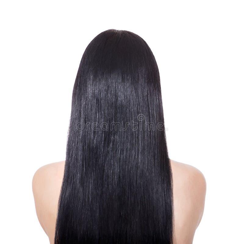 Vrouw met lang recht bruin haar stock fotografie