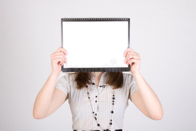 Vrouw met leeg document royalty-vrije stock foto's