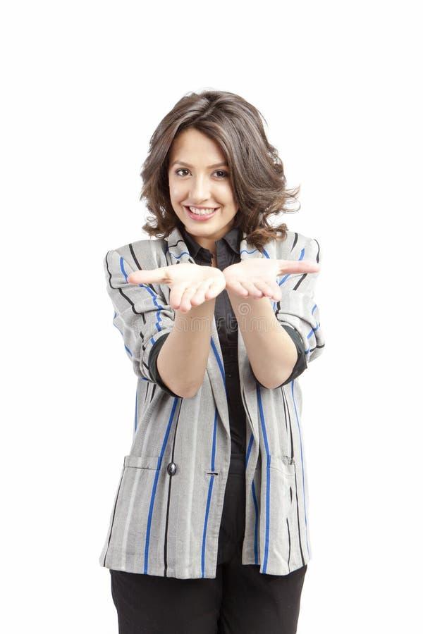 Vrouw met lege handen stock foto's