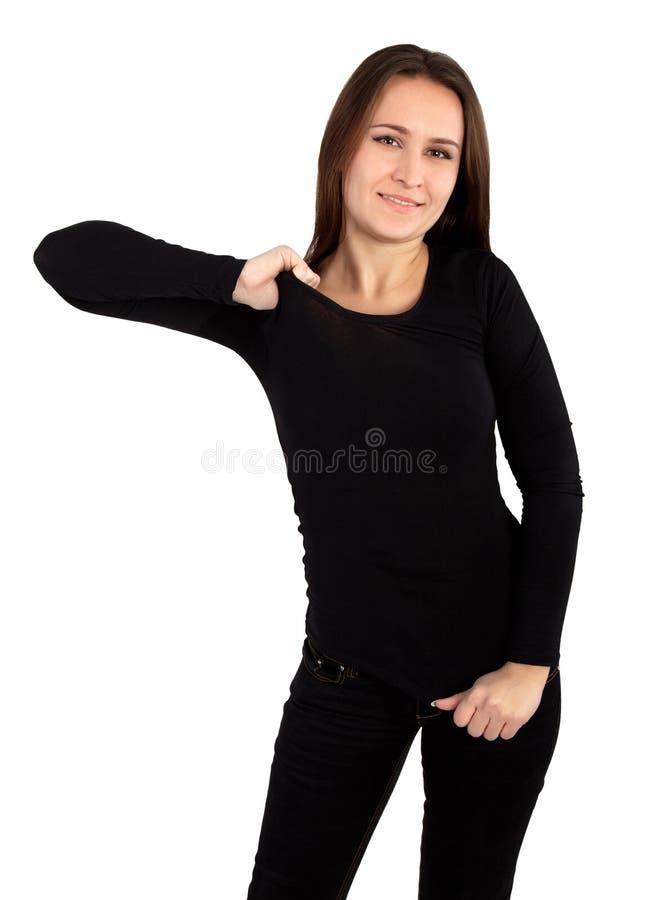 Vrouw met lege zwarte t-shirt royalty-vrije stock afbeeldingen