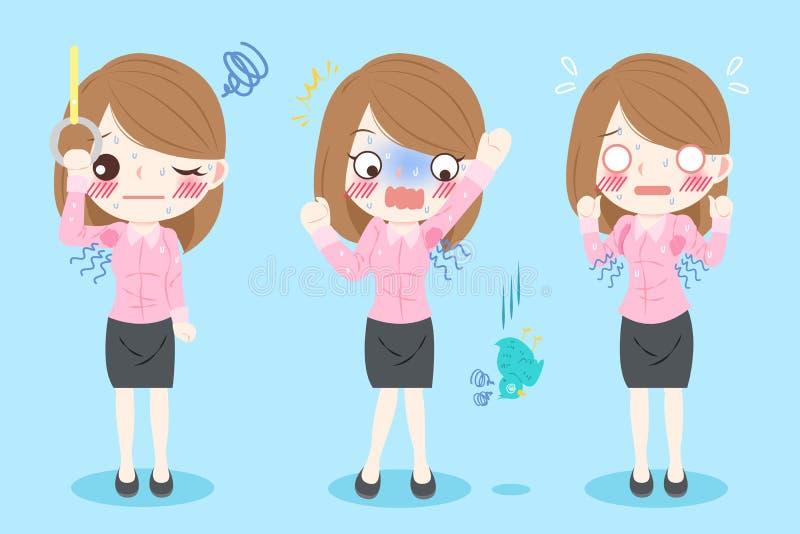 Vrouw met lichaamsgeur vector illustratie