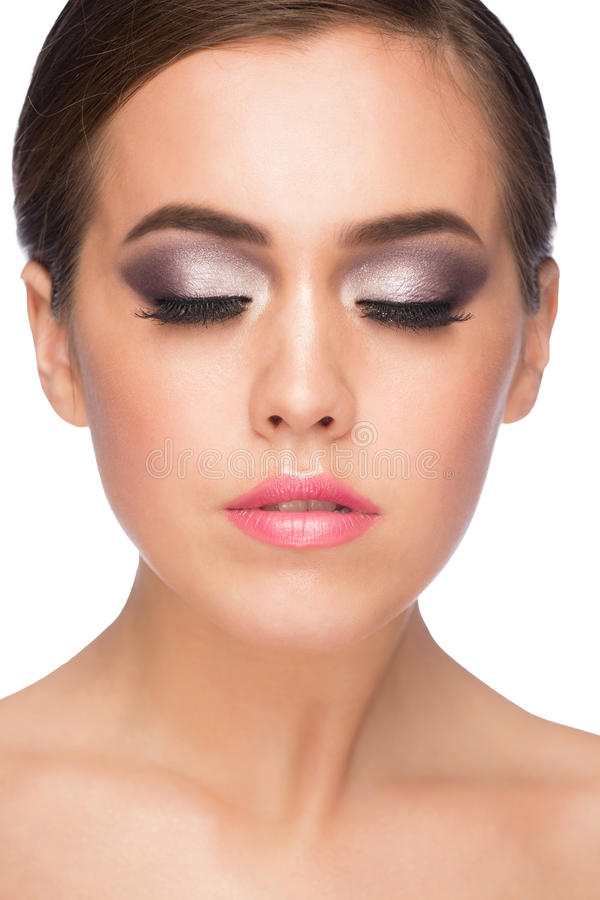 Vrouw met make-up stock foto's