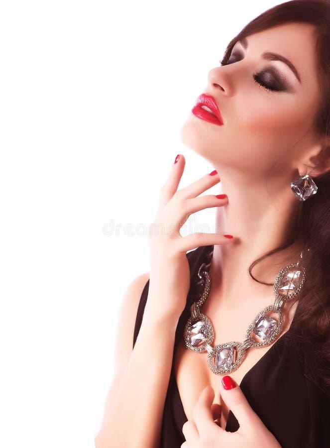 Vrouw met make-up en kostbare decoratie royalty-vrije stock foto