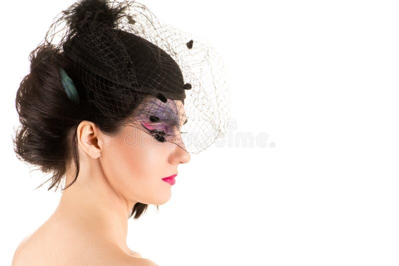 Vrouw met make-up, profielgezicht met sluier royalty-vrije stock foto's