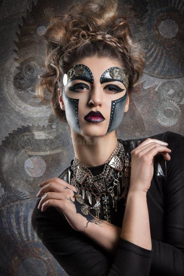 vrouw met make-up Steampunk royalty-vrije stock foto's
