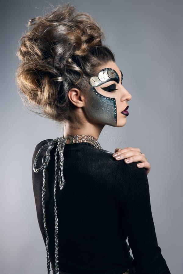 vrouw met make-up Steampunk royalty-vrije stock foto