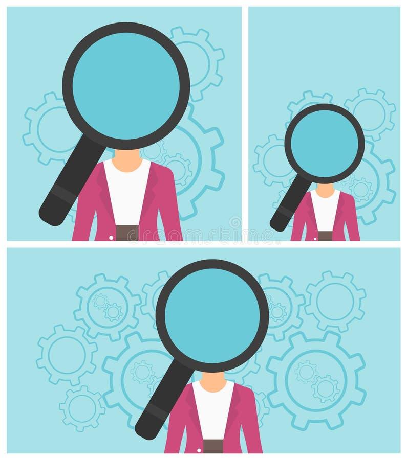 Vrouw met meer magnifier in plaats van hoofd stock illustratie