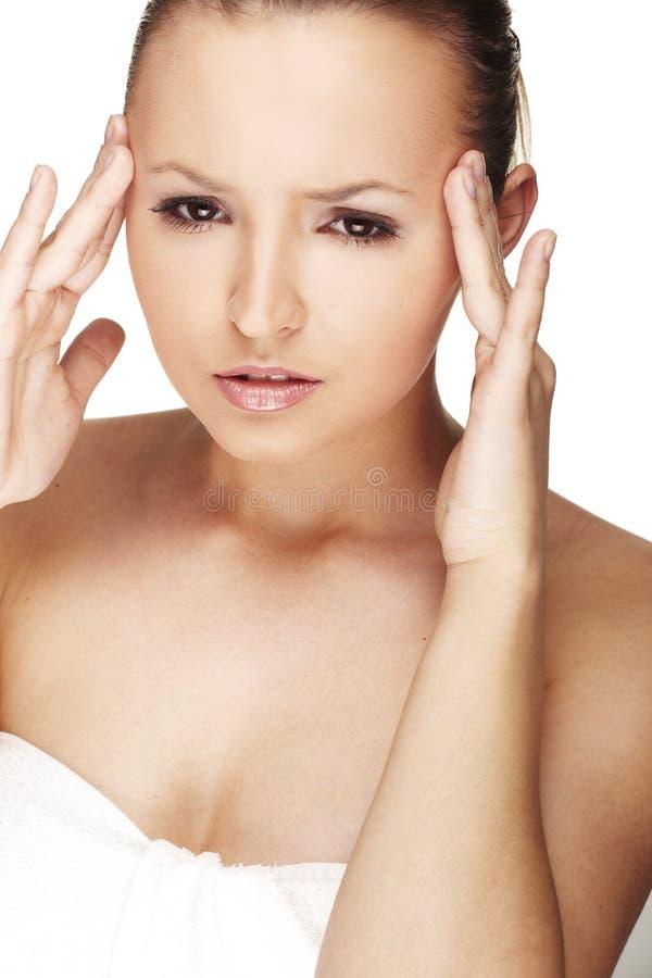 Vrouw met Migraine royalty-vrije stock foto's