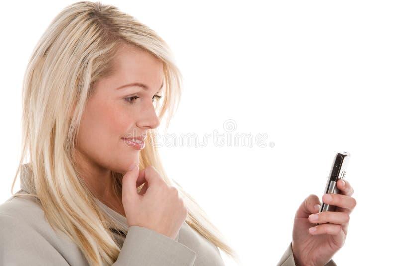 Vrouw met mobiel royalty-vrije stock foto's