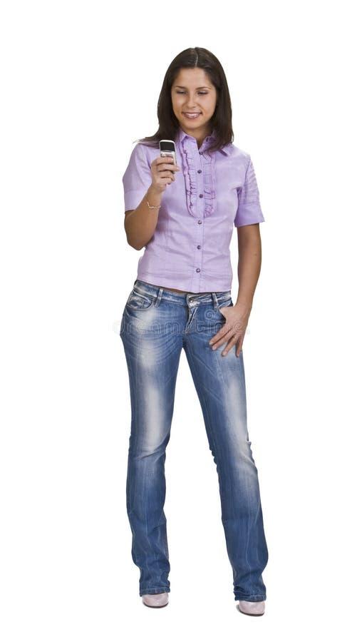 Vrouw met mobiele telefoon stock foto's