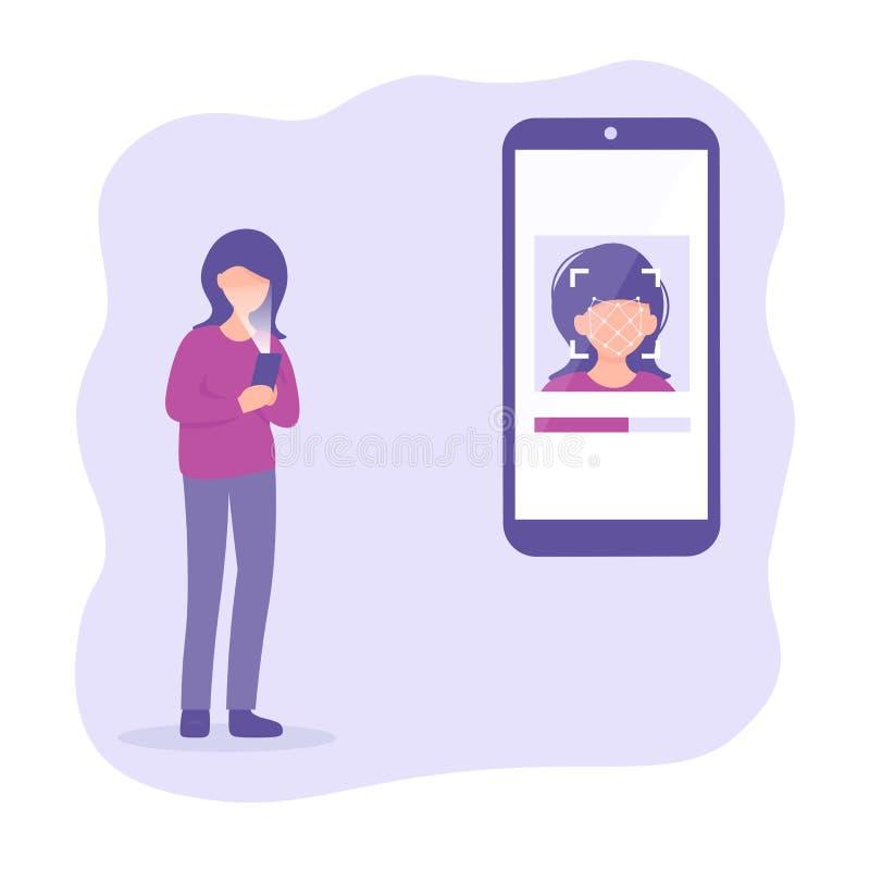 Vrouw met mobiele telefoon, gezicht op het grote smartphonescherm, het concept van gezichtsidentiteitskaart, persoonlijkheidserke royalty-vrije illustratie