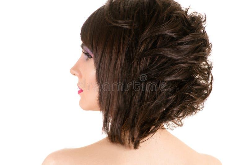 Vrouw met modieus kapsel en make-up royalty-vrije stock afbeeldingen