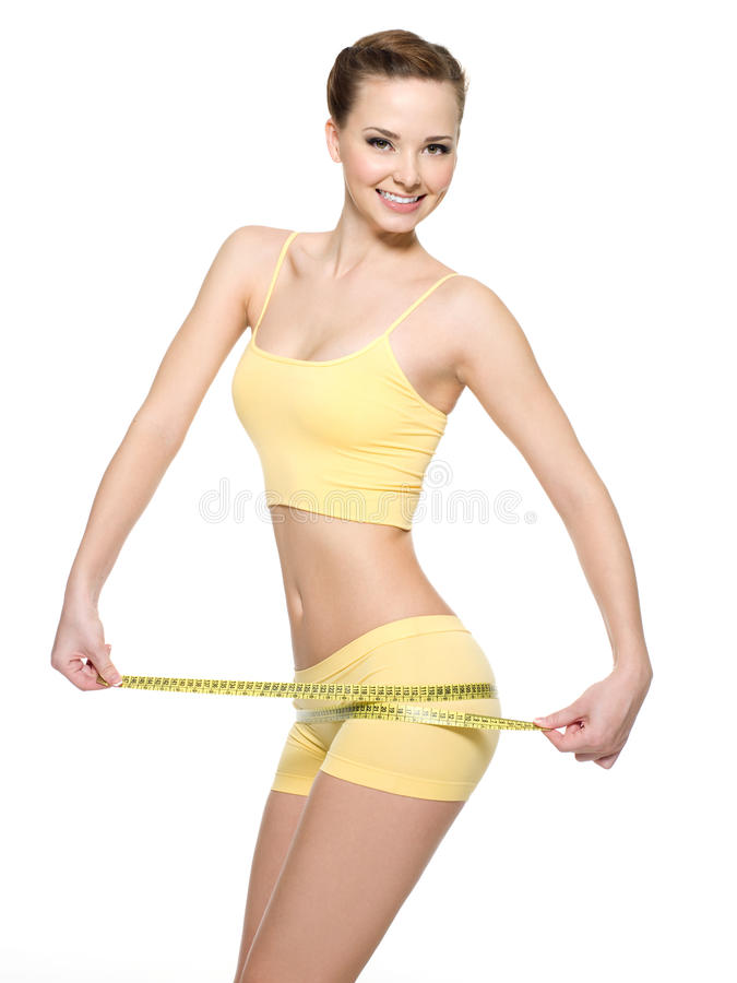 Vrouw met mooi lichaam na dieet stock afbeeldingen