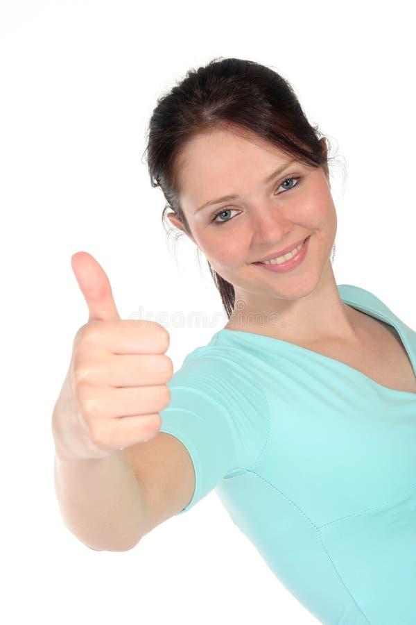 Vrouw met omhoog Duim stock fotografie