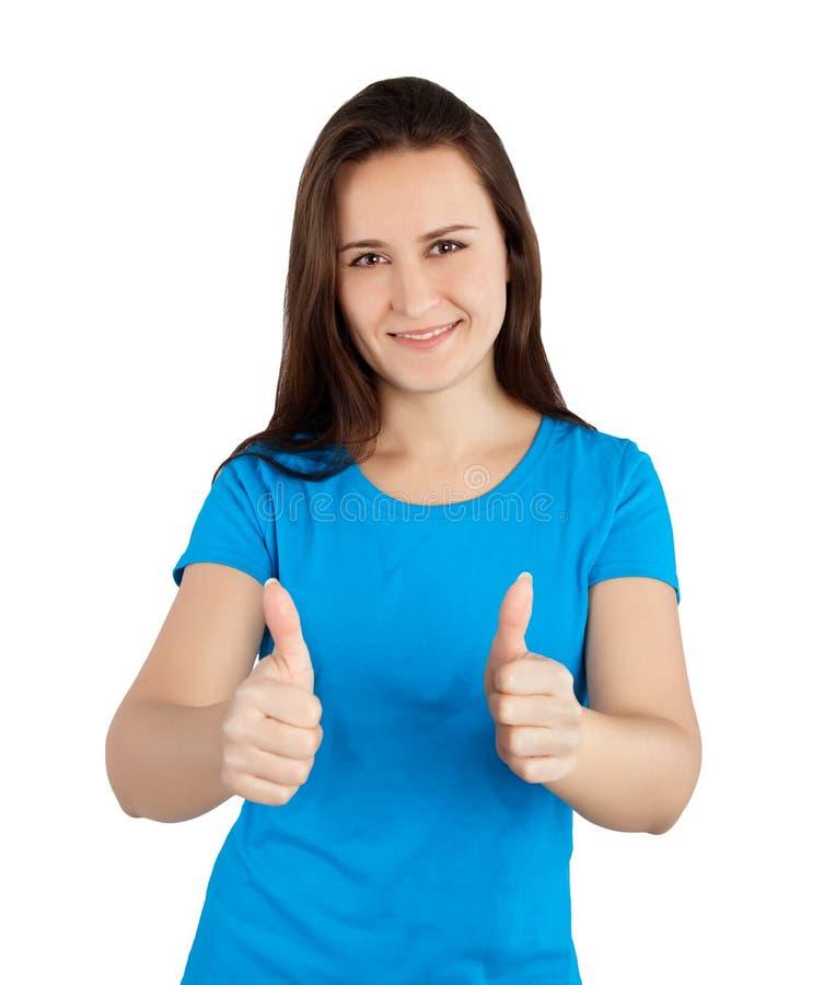 Vrouw met omhoog duimen royalty-vrije stock fotografie