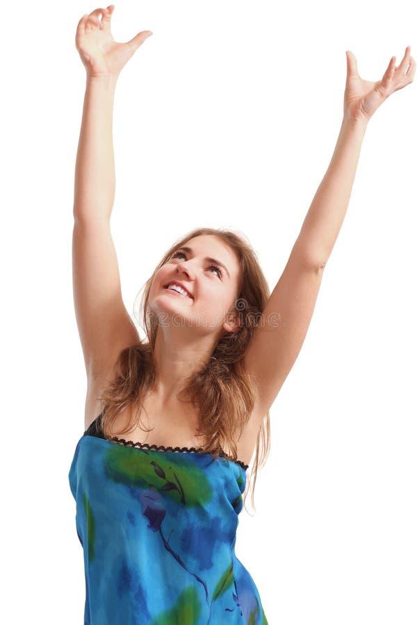 Vrouw met omhoog handen stock foto