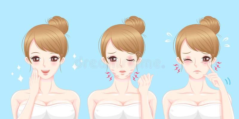 Vrouw met oogprobleem vector illustratie