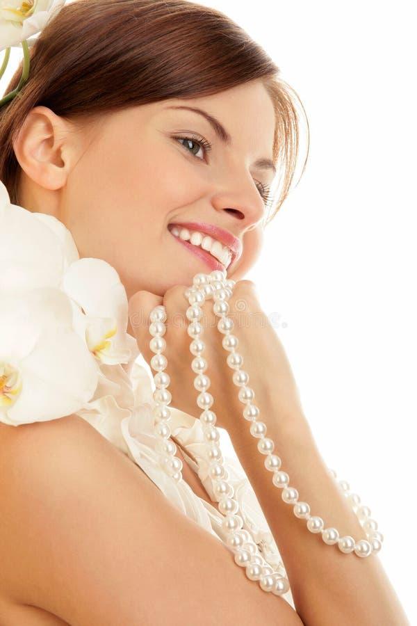 Vrouw met parels royalty-vrije stock foto's