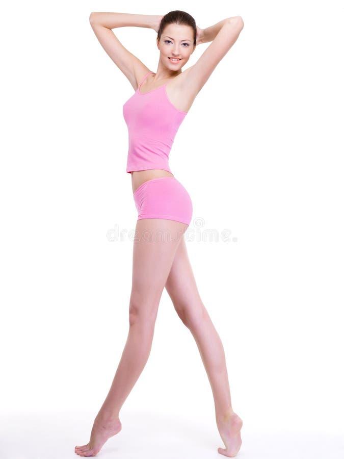 Vrouw met perfect slank mooi lichaam stock foto's