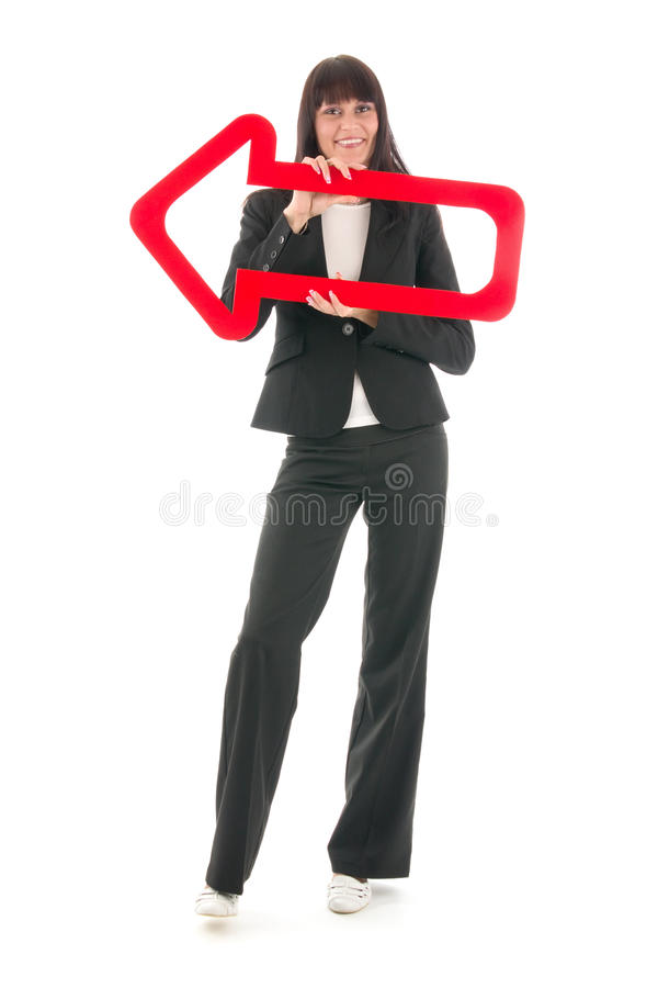 Vrouw met pijl stock foto's