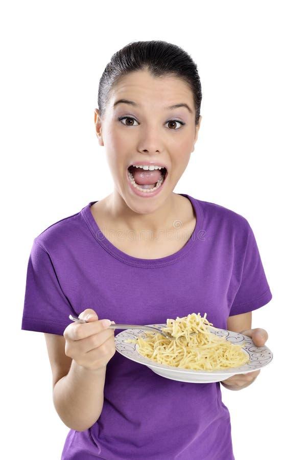 Vrouw met plaat van spaghetti stock afbeelding