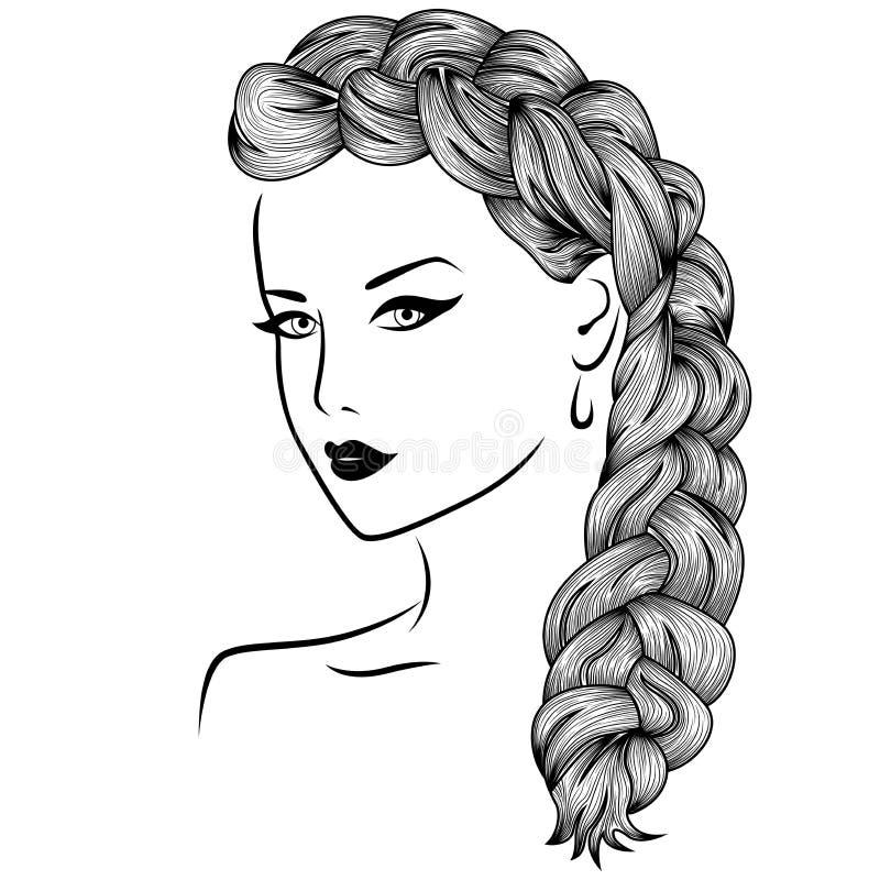 Vrouw met pluizige vlecht royalty-vrije illustratie
