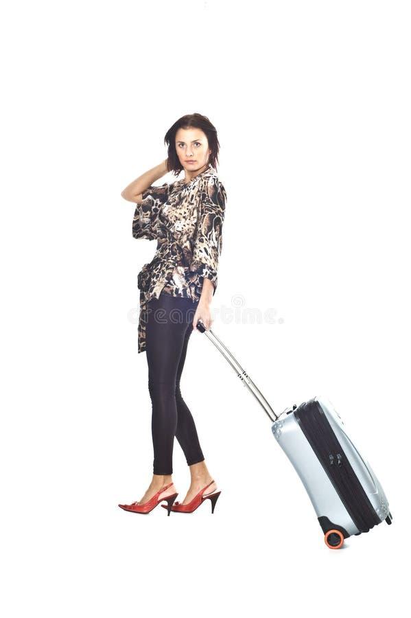 Vrouw met reiszak royalty-vrije stock afbeeldingen