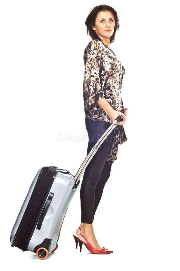 Vrouw met reiszak royalty-vrije stock foto